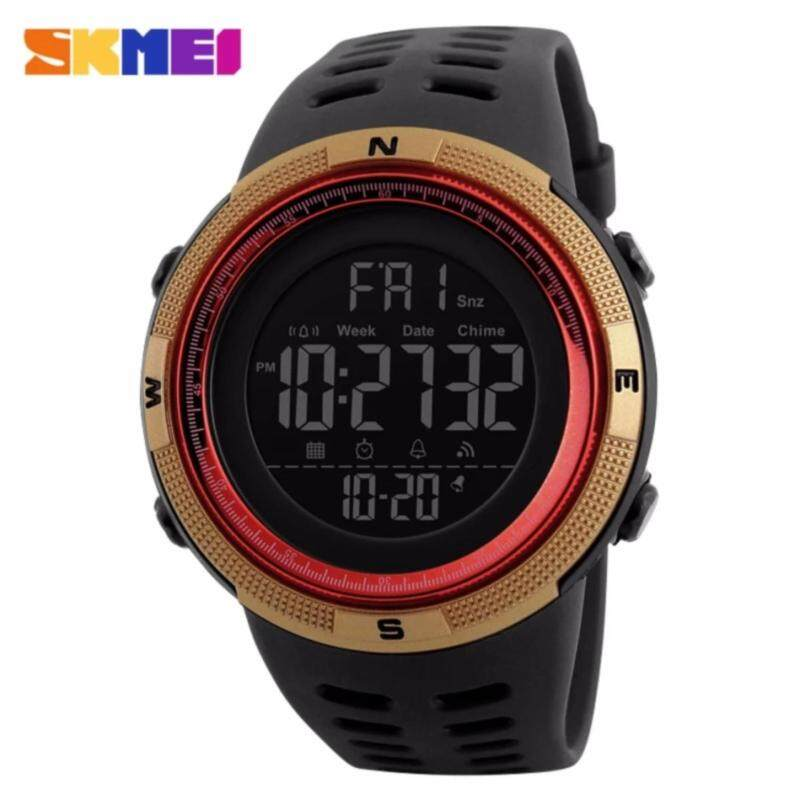 2017 New SKMEI 1251 Men Sports Watches 50M Waterproof Watches Countdown Double Time Watch Alarm Chrono Digital Wristwatches - Black Gold Red Malaysia
