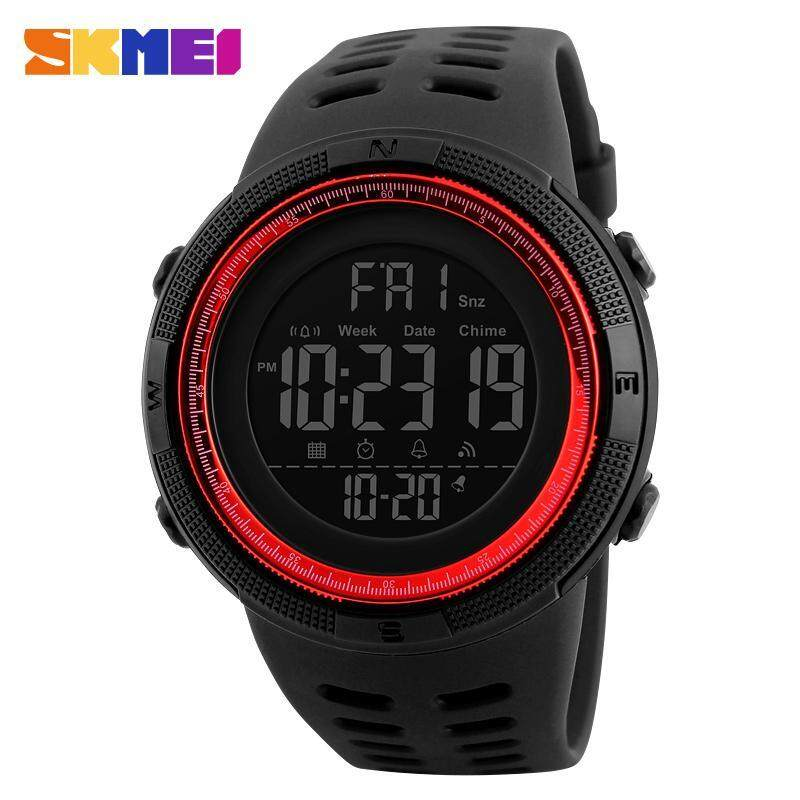 2017 New SKMEI 1251 Men Sports Watches 50M Waterproof Watches Countdown Double Time Watch Alarm Chrono Digital Wristwatches - Black Red Malaysia