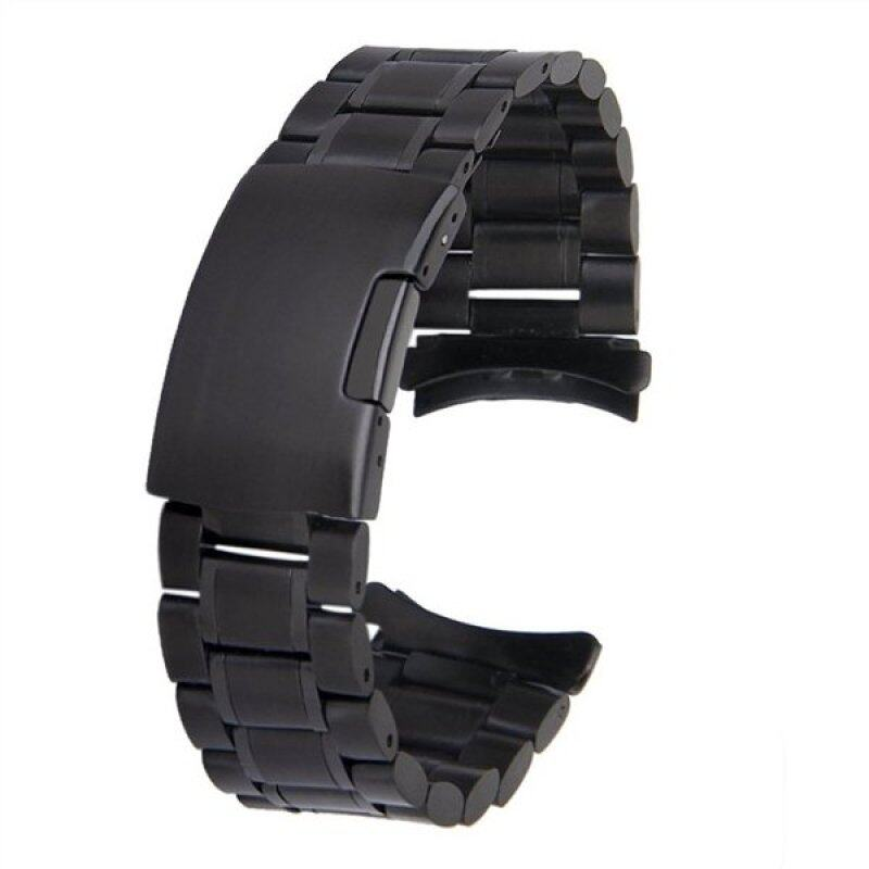 22mm Stainless Steel Solid Links Bracelet Watch Band Strap Curved End with 2pcs Watch Pins Spring Bars (Black) Malaysia
