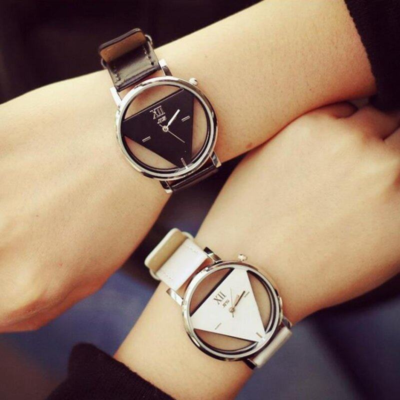 2pcs jis Hollow Out Mens Womens Couple Triangle Quartz Watches Valentines Day Memory Gift  Black White Malaysia