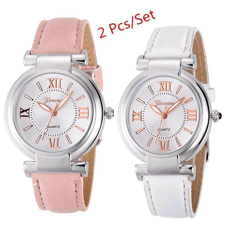 2Pcs/set Geneva Womens Fashion Waterproof Quartz Watch Ladies Casual Leather Band Watch - Pink and White Malaysia