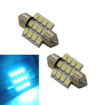 Harga 2x Aqua Blue 31mm 12-SMD DE3175 DE3022 LED Bulbs For Car Interiorlight