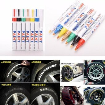Harga 3 x Universal Motorcycle Car Waterproof Painting Pens MarkersPermanent Tyre Tire Tread Rubber Marker Pen White
