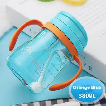 330ml Shock-resistant Baby Sippy Cups Kids Drinking Bottles InfantChildren Learn Drinking Dual Handles Straw Juice Solid FeedingBottle