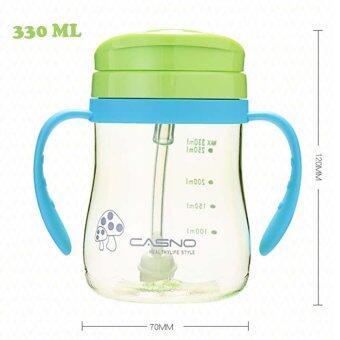 330ml Shock-resistant Baby Sippy Cups Kids Drinking Bottles InfantChildren Learn Drinking Dual Handles Straw Juice Solid FeedingBottle - 2