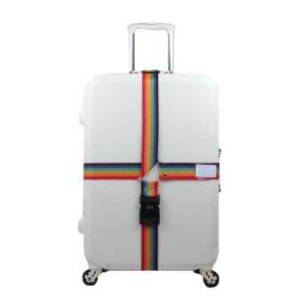 360DSC Adjustable Password Lock Luggage Suitcase Cross Strap Travel Baggage Bag Belt with Tag - Colorful