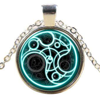 360DSC Steampunk UK Drama Doctor Who Blue Line Time Lord Necklace Jewelry Glass Pendant Chain Necklace - Silver Plated