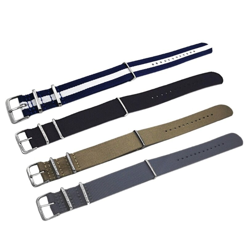 4 PCS 4 Colors Fashion Colored Woven Nylon Fabric Replacement Wrist Watch Band Strap Bracelet Belt with Stainless Steel Buckle Clasp 22mm Width Malaysia