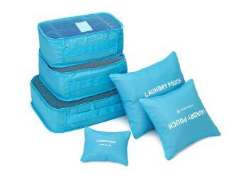 6 in 1 Clothes Storage Bags Packing Cube Travel Luggage Organizer Bag Sky Blue