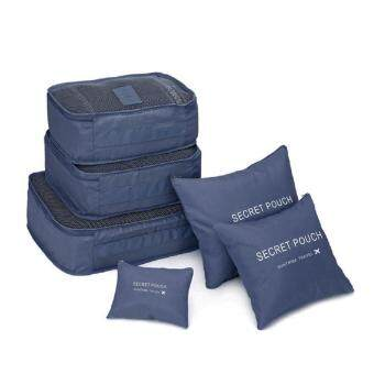 6 Pcs/Set Square Travel Luggage Storage Bags Clothes Organizer Pouch Case (Navy Blue)