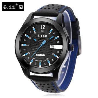 6.11 NO - 003 Men Photovoltaic Solar Energy Quartz Watch Calendar Net Dial Genuine Leather Band Wristwatch