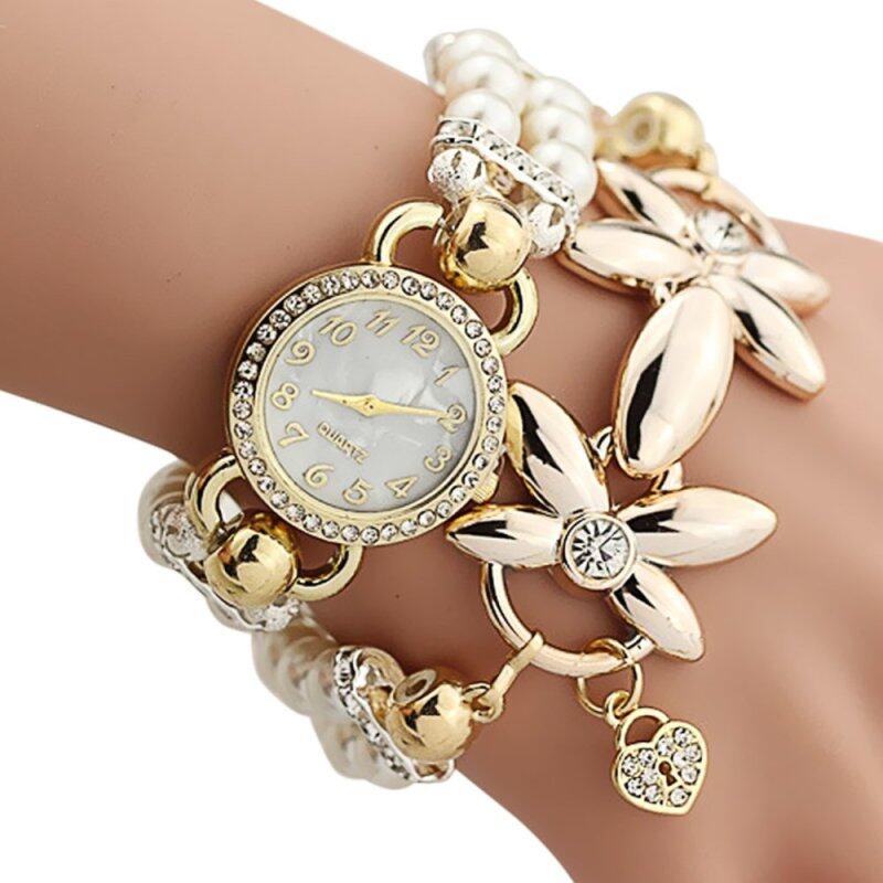 Amart Bracelet Watch Women Quartz-watch Female Clock Flower Pearl Chain Wrist Watches - Intl Malaysia
