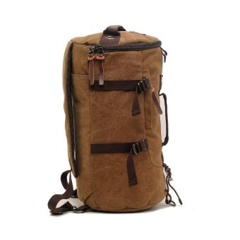 AUGUR 1028 Canvas Leather Travel Backpack (Coffee) - 2