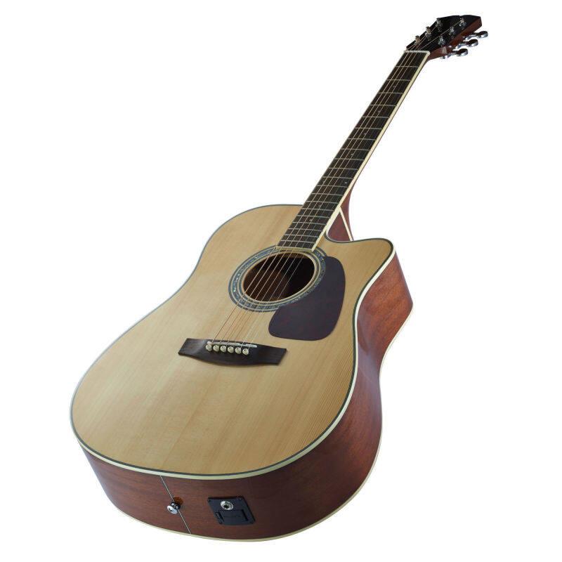 Auron Acoustic Cutaway Guitar with Fishman Pickup (Solid Skita Spruce + Mahogany) + Guitar Bag Malaysia
