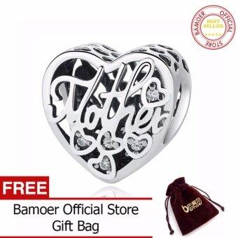 BAMOER 100% 925 Sterling Silver Openwork MOTHER & SON BONDCHARM Beads fit Bracelets & Bangles DIY Jewelry PSC083