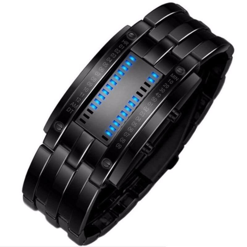 Belzoni Stylish with rectangle LED Bracelet Watch Waterproof Iron Samurai Japan Style - Blue Light (Black) Malaysia