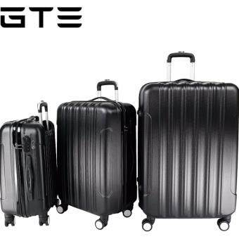 Big Stripe 3-In-1 Ultralight Luggage Set (20Inch+24Inch+28Inch) - Black