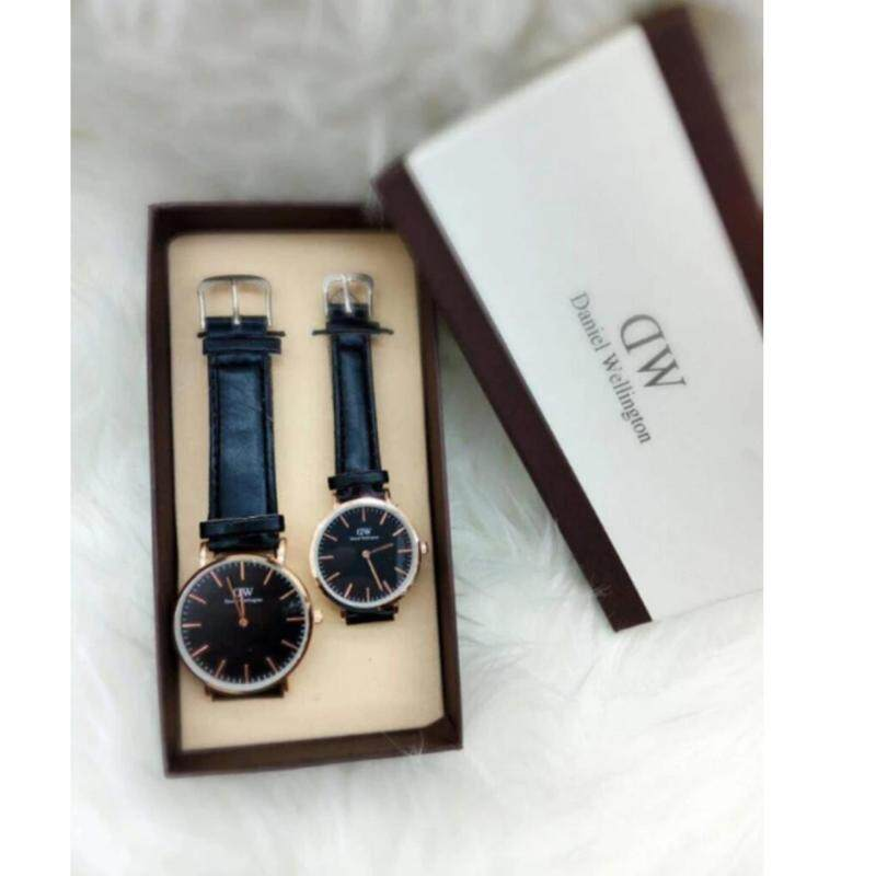 Black Strap with Black Dial(Gold Lug) Couple Watch Malaysia