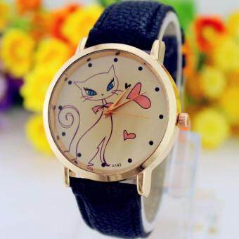 Harga (black)Beautiful Gift 1PC Fashion Women Cute Cat Watch Ladies Faux Leather Analog Quartz Casual Wrist Watch