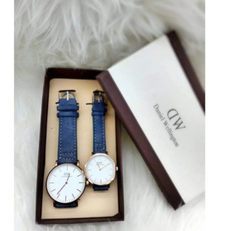 Blue Strap with White Dial (Gold Lug) Couple Watch Malaysia