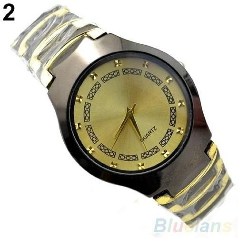 BODO Luxury Mens Business Casual Stainless Steel Link Chain Wristwatch Quartz Round dial Watch(Gold) Malaysia