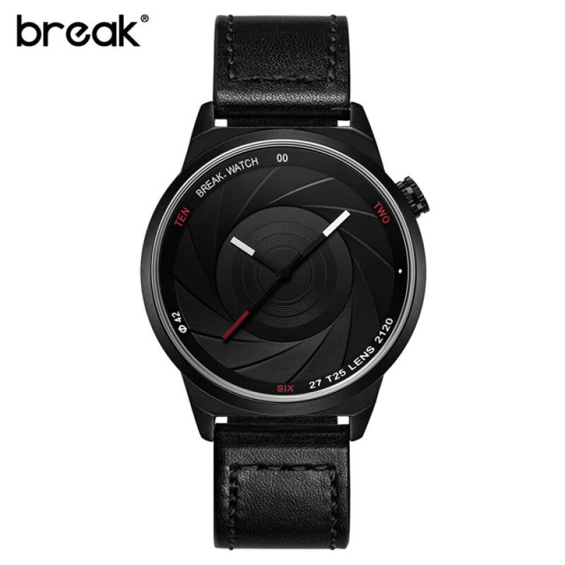 BREAK Photographer Series Unique Camera Style Casual Men Black Leather Band Quartz Wrist Watch T25 Malaysia