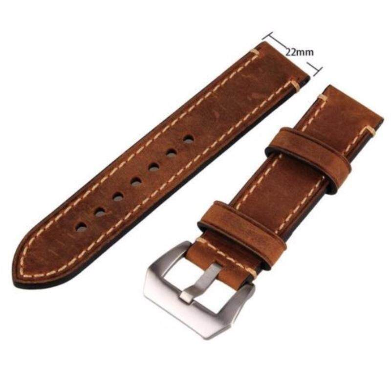 Brown 22mm Genuine Leather Wristwatch Watch Band Watchband Stainless Buckle Malaysia