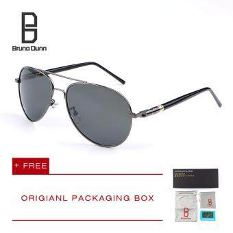 Bruno Dunn Brand Men Polarized Driving Sun Glasses MB 209 Sunglasses Aviator (gun frame gray lense)