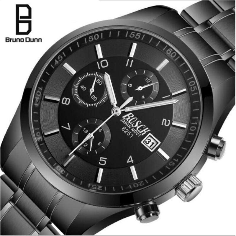 Bruno Dunn Fashion Metal Casual Business 2017 Top Brand Luxury Mens Waterproof Military Skeleton Watch Sport Quartz Wrist Watch for Male Wristwatch With Box Malaysia