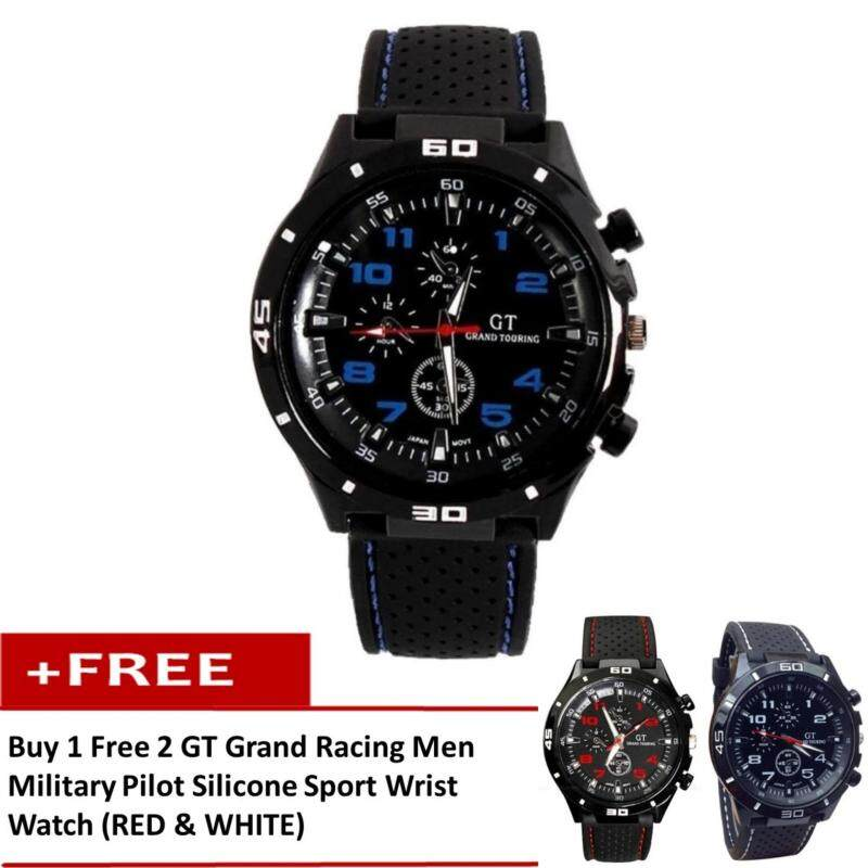 [Buy 1 Free 2] GT Grand Racing Men Military Pilot Silicone Sport Wrist Watch Malaysia