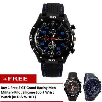 [Buy 1 Free 2] GT Grand Racing Men Military Pilot Silicone Sport Wrist Watch