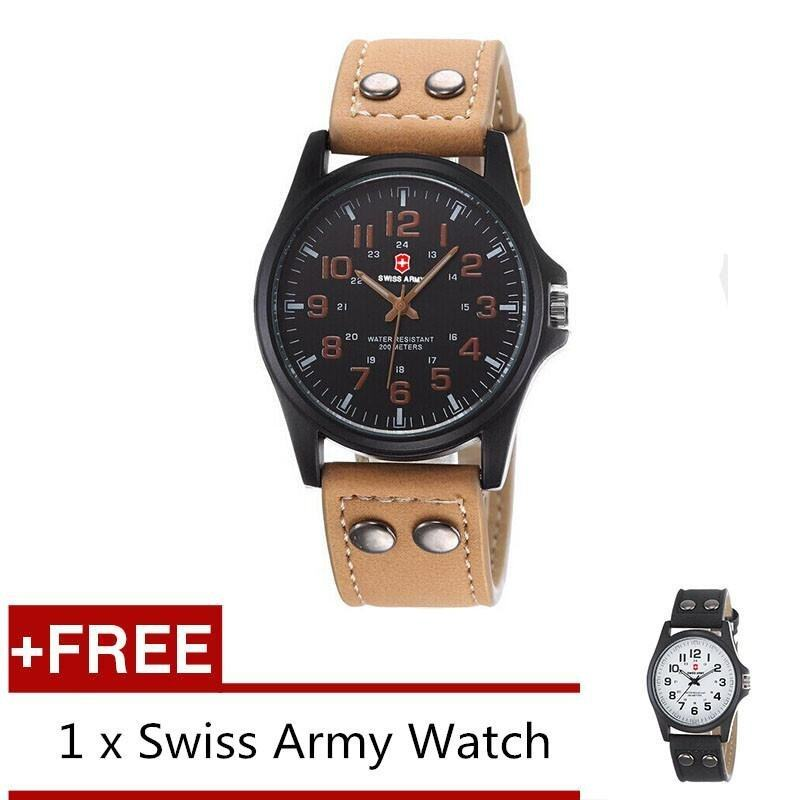 (Buy 1 Get 1 Free) Swiss Army Mens Watches Leather Strap Watch Black Light Brown + Free Swiss Army Watch Black White Malaysia