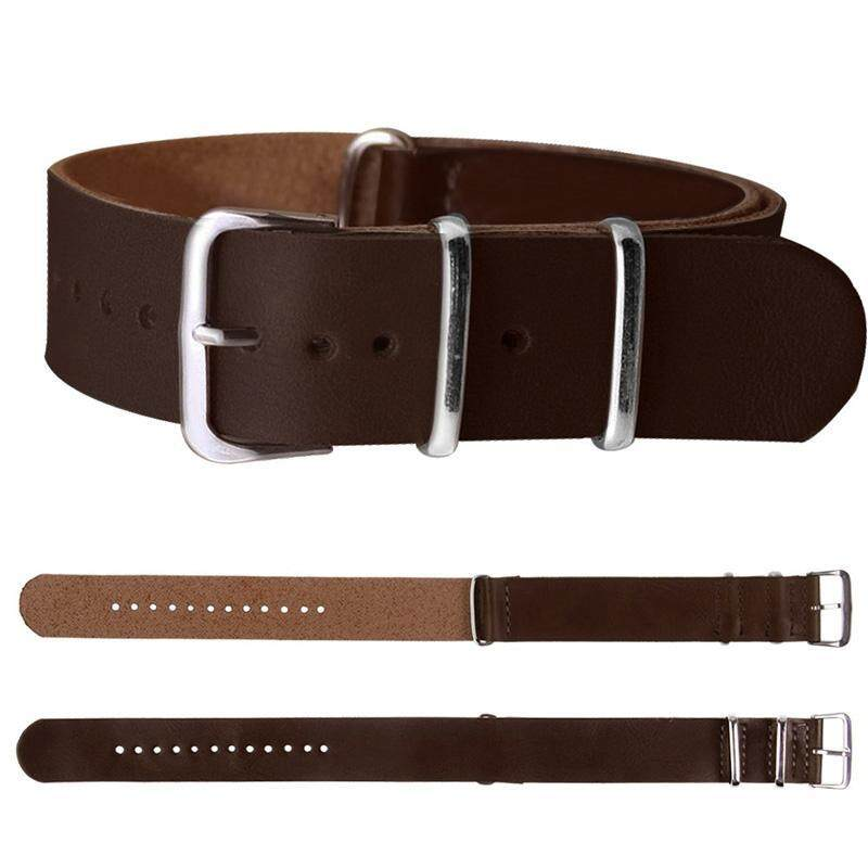 BUYINCOINS 18mm/20mm/22mm Leather Wrist Watch Band Strap Mens Stainless Steel Pin Buckle Dark Brown-20mm Malaysia