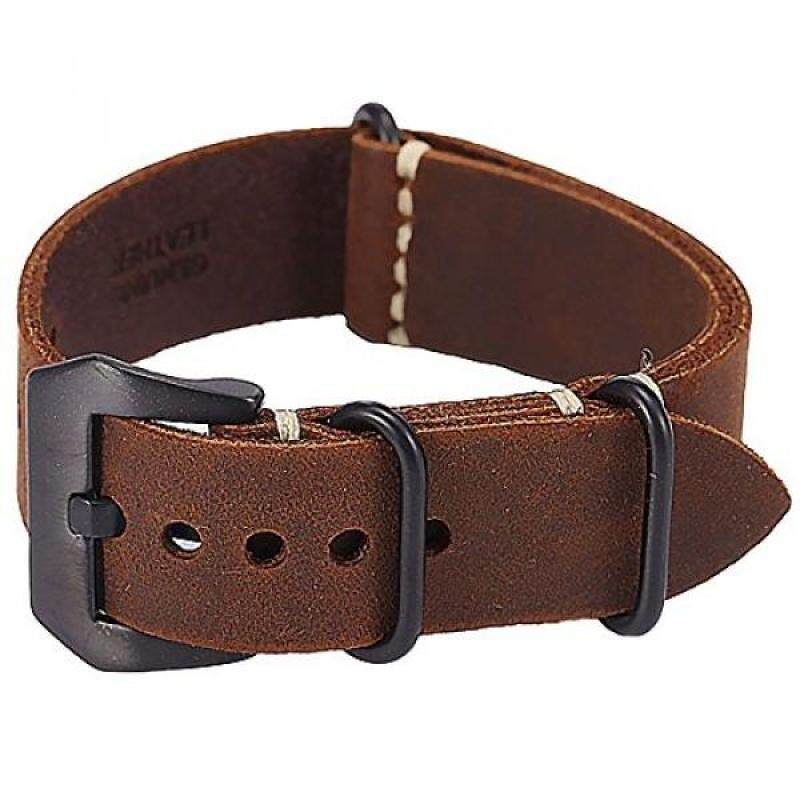 Carty Replacement Watch Band Strap Vintage Handmade Crazy Horse Leather Zulu Nato 22mm Dark Brown Malaysia