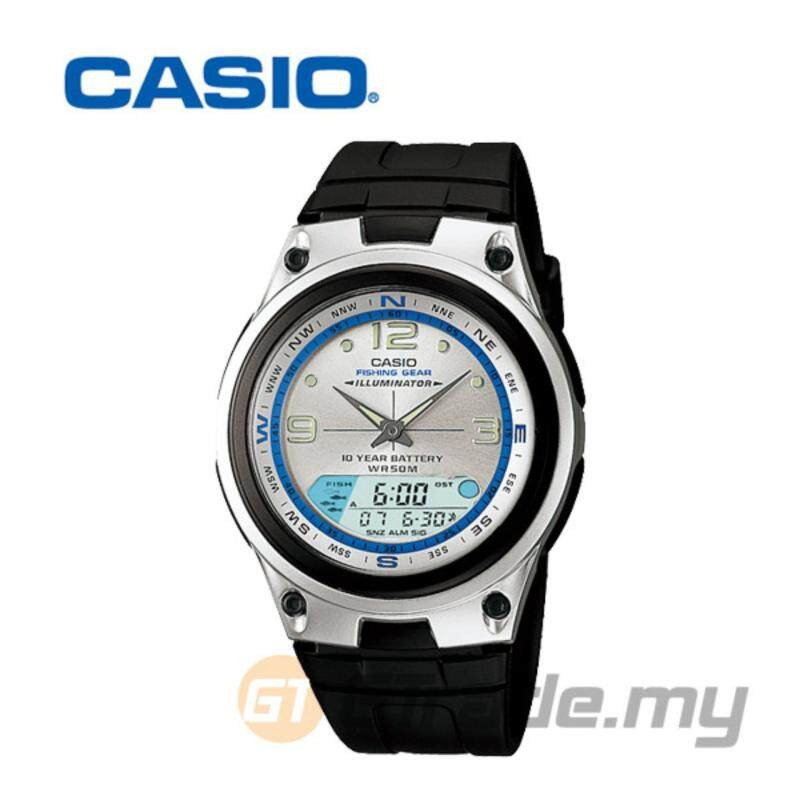 Casio Analog Digital Mens Black Silicone Strap Watch AW-82-7AV Malaysia