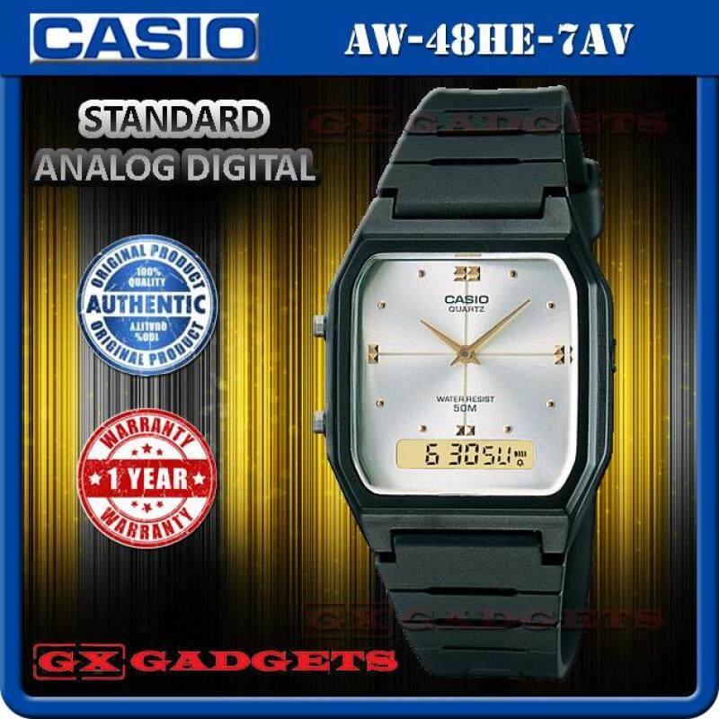 Casio Aw-48He-7Av Standard Analog Digital Watch Dual Time Alarm Wr50M Malaysia