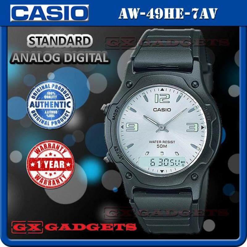 Casio Aw-49He-7Av Standard Analog Digital Watch Dual Time Alarm Wr50M Malaysia