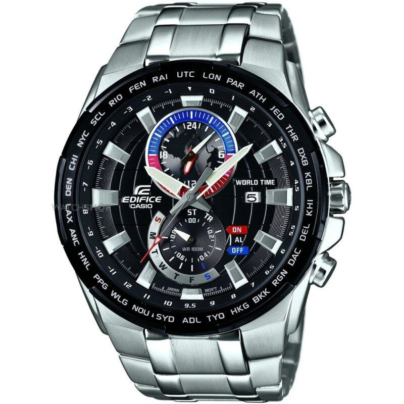 Casio Edifice EFR-550D-1A Dual Dial World Time Black Dial Stainless Steel Watch Malaysia