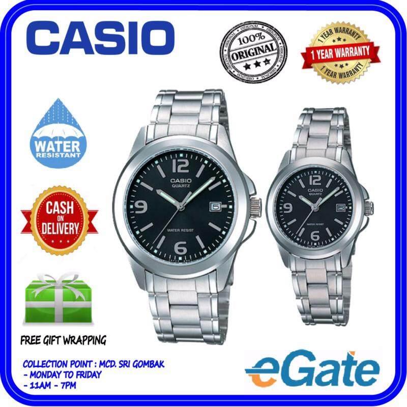 Casio MTP-1215A-1A & LTP-1215A-1A Analog Couple Watch - Silver Black Casual Original Malaysia