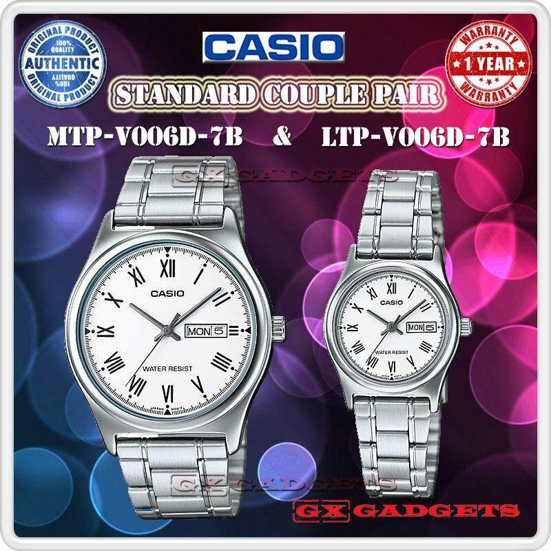 Casio Mtp-V006D-7B + Ltp-V006D-7B Couple Pair Watch Day Date S/S B. Wr - Silver Malaysia
