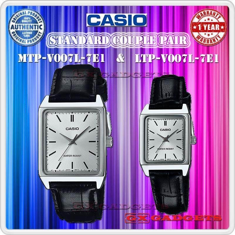 Casio Mtp-V007L-7E1 + Ltp-V007L-7E1 Couple Pair Watch Leather Band Wr - Silver Malaysia