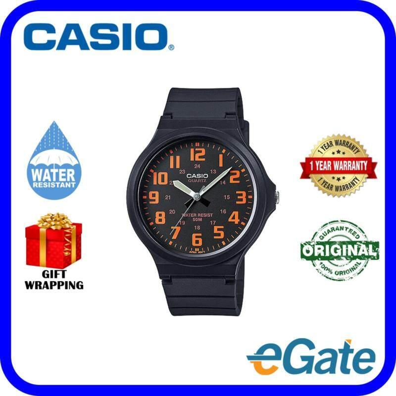 Casio MW-240-4B Analog Unisex Watch Black Orange Casual Original Malaysia
