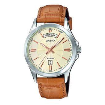 Casio Watch Enticer Brown Stainless-Steel Case Leather Strap Mens NWT + Warranty MTP-1381L-9A