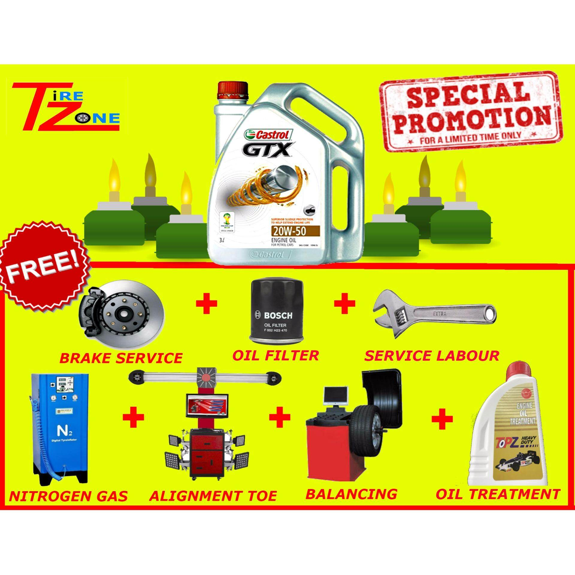 Castrol GTX 20W50 Service Package with / Allignment / Balancing / Oil filter / Oil Treatment image