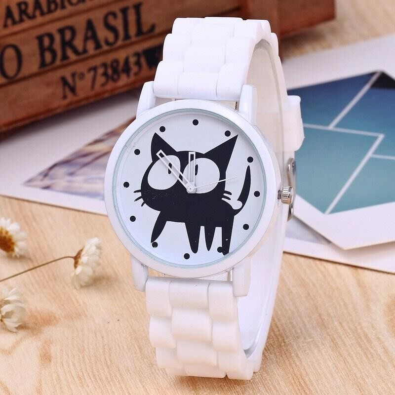 Children Black Cat Sport Watch Jelly Silicone Strap Quartz Wristwatches Malaysia