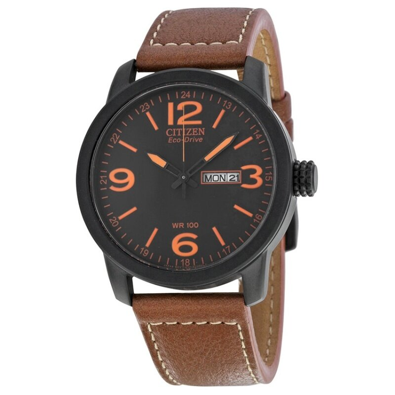 Citizen Eco Drive Black Dial Brown Leather Mens Analog Watch BM8475-26E Malaysia