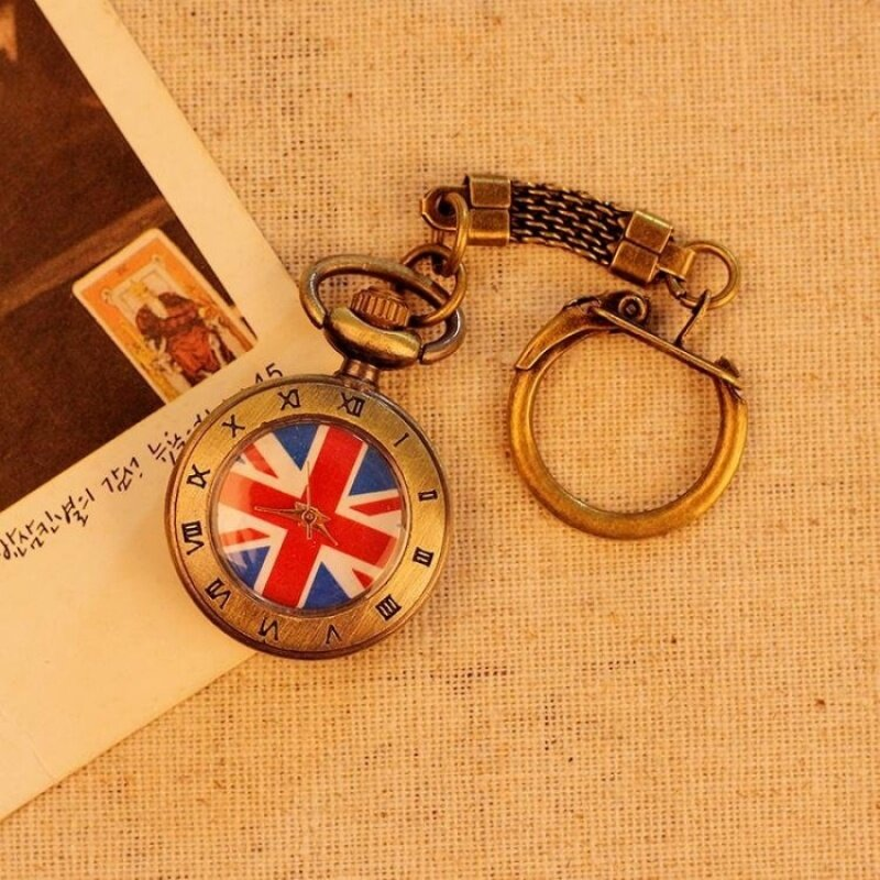 CITOLE UK Flag Pattern Roman Number Men Women Pocket Watch QuartzAntique Alloy Pendant Retro Chain Best Gift (bronze) Malaysia