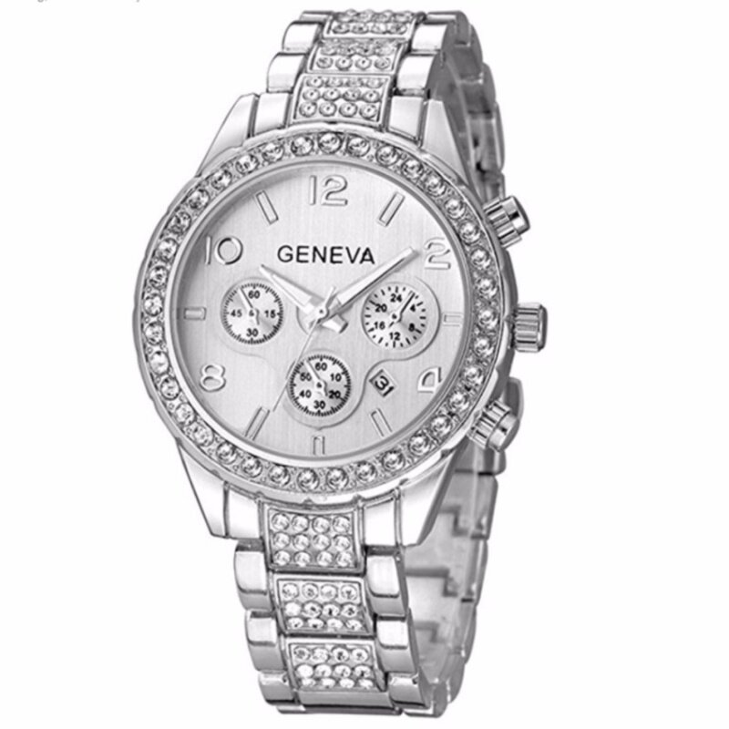 Colavita Womens Luxury Iced Out Pave Floating Crystal Quartz Calendar Stainless Steel Watch (Silver) Malaysia
