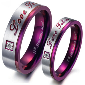 Couple one pair of titanium steel student style diamond ring (Maleno. 8)