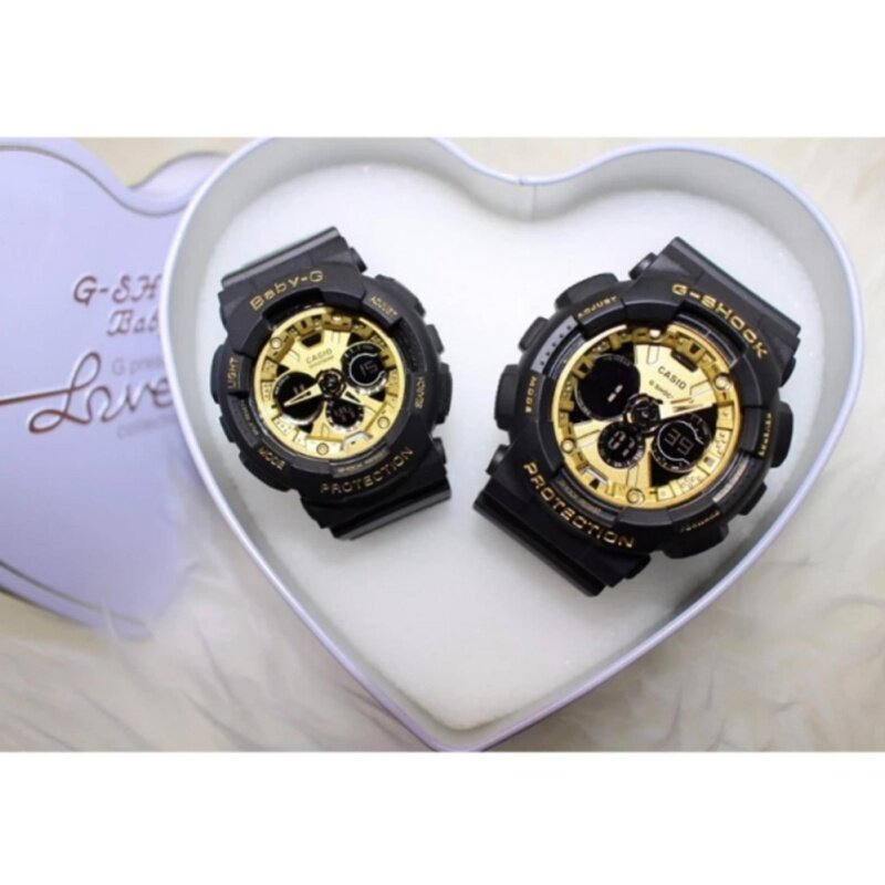 ***Couple Watch] Black with Gold GShock & BabyG Couple GA200SH*** Malaysia
